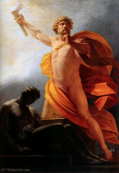 Prometheus Brings Fire to Mankind by Friedrich Heinrich Füger (1751-1818, Germany) | Oil Painting | WahooArt.com