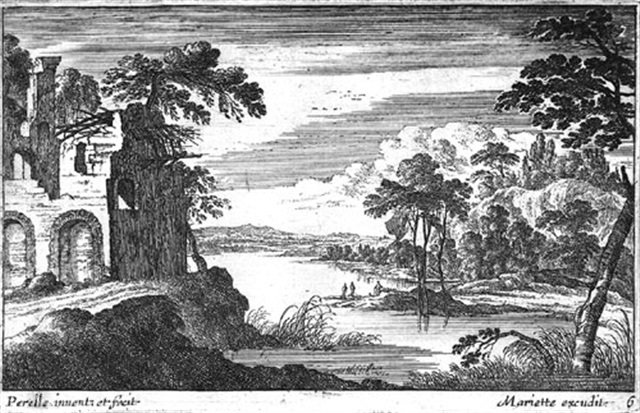 Landscapes with ruins and buildings by Gabriel Pérelle (1604-1677, France)
