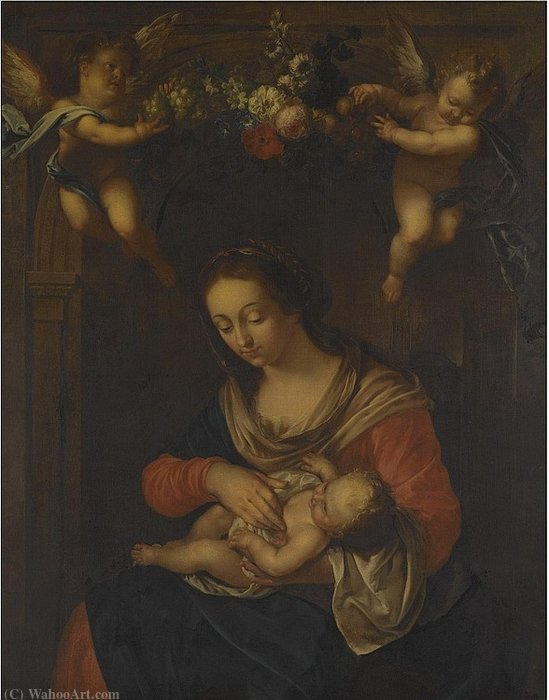 Madonna and Child with Putti Holding a Flower Garland by Gaspar Pieter The Younger Verbruggen (1664-1730, Belgium)