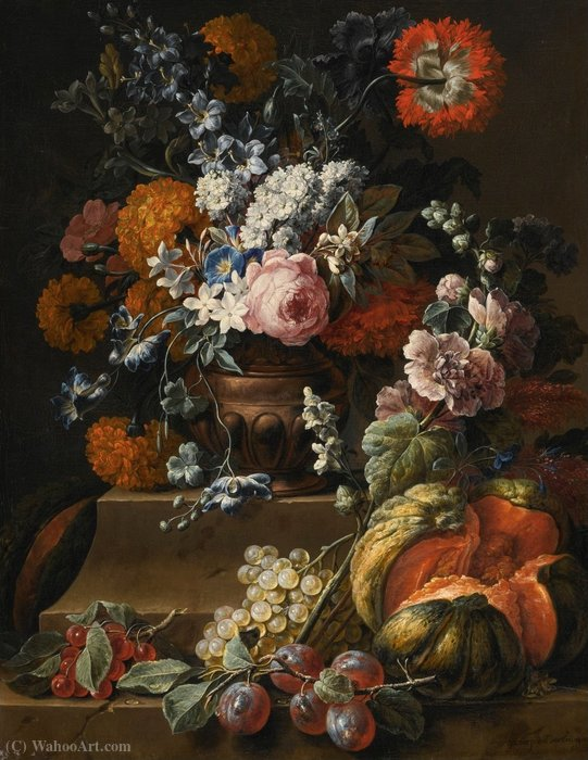 Still Life with Hollyhock, Carnations, and Various Flowers in a Vase by Gaspar Pieter The Younger Verbruggen (1664-1730, Belgium) | Painting Copy | WahooArt.com