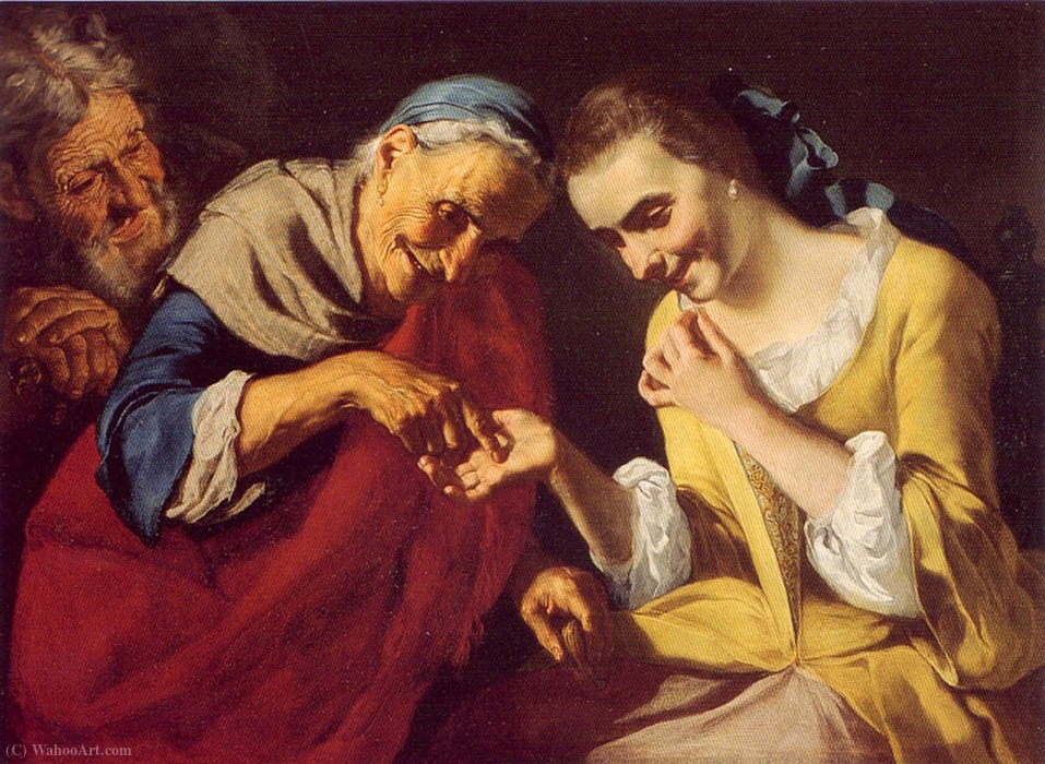 the Fortune Teller by Gaspare Traversi (1722-1770, Italy) | Art Reproduction | WahooArt.com