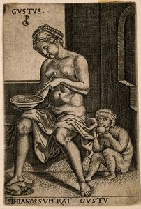 Georg Pencz - A woman eating from a plate and a monkey eating fruit
