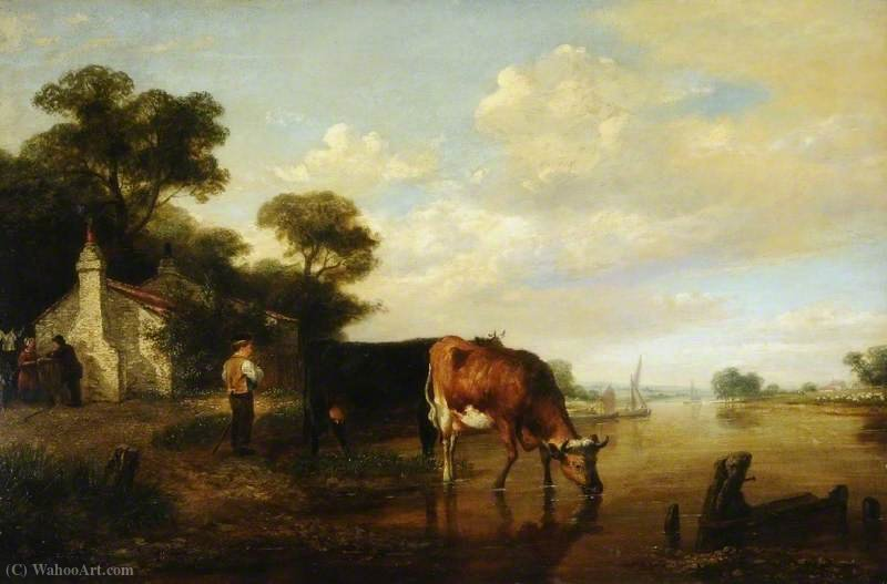 Cattle drinking by George Vincent (1796-1831, United Kingdom)