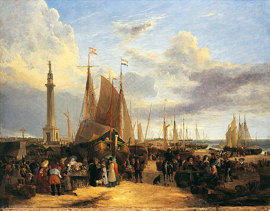 Dutch Fair on Yarmouth Beach, Norfolk by George Vincent (1796-1831, United Kingdom)
