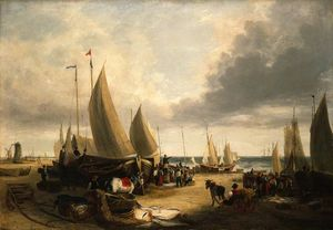George Vincent - Fish auction, yarmouth beach, norfolk