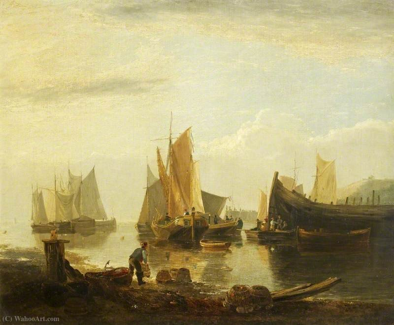 Fishing Boats in a Harbour by George Vincent (1796-1831, United Kingdom)