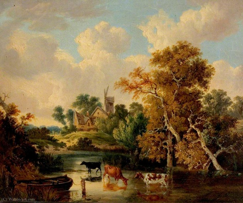 Landscape with Cattle in a Pool by George Vincent (1796-1831, United Kingdom) | Oil Painting | WahooArt.com