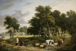 George Vincent - Landscape, Cattle Crossing a Stream