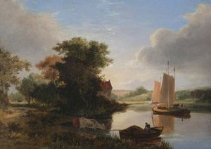 George Vincent - River Scene with Boats