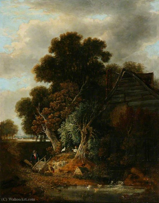 View near Wroxham, Norfolk by George Vincent (1796-1831, United Kingdom)