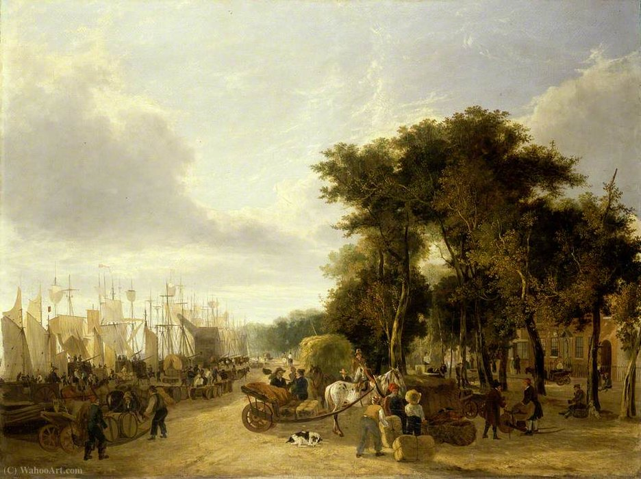 Yarmouth quay, norfolk by George Vincent (1796-1831, United Kingdom) | Oil Painting | WahooArt.com