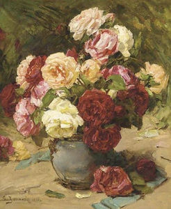 Georges Jeannin - Summer roses in a vase