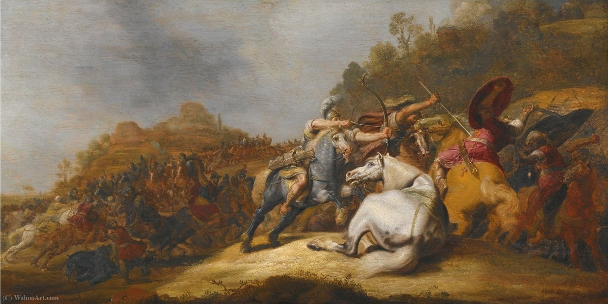 A Battle on Horseback with Armored Soldiers and Soldiers Wearing Turbans, in a Landscape by Gerrit Claesz Bleker (1593-1656, Netherlands)
