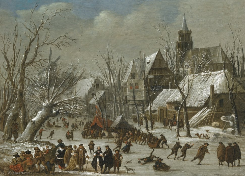 A winter landscape with figures on a frozen canal by Gerrit Van Battem (1636-1684, Netherlands)