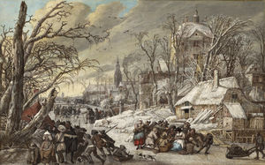 Gerrit Van Battem - Figures on a Frozen Canal