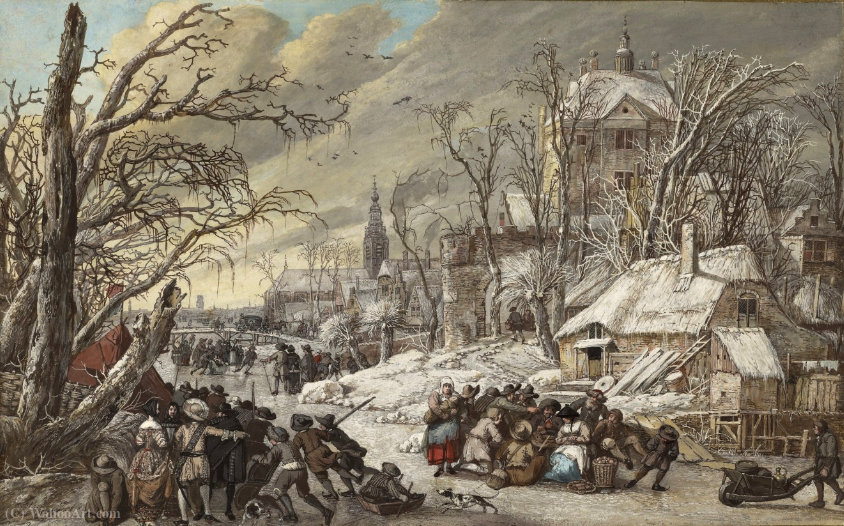 Figures on a Frozen Canal by Gerrit Van Battem (1636-1684, Netherlands) | Painting Copy | WahooArt.com