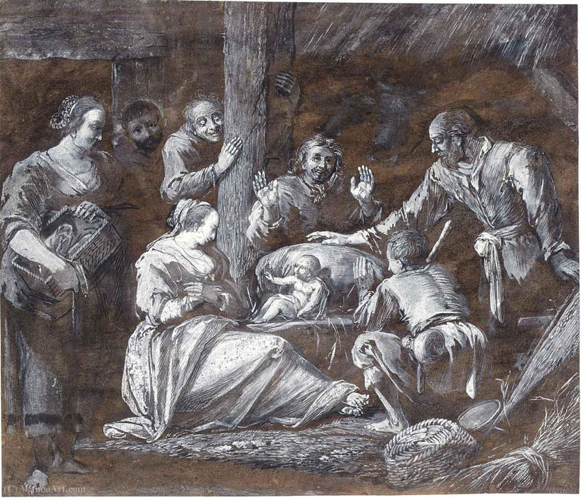 The adoration of the shepherds by Gerrit Van Battem (1636-1684, Netherlands) | Museum Quality Reproductions | WahooArt.com