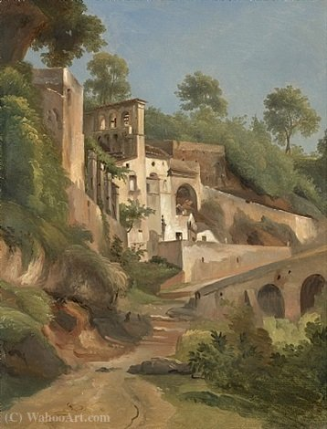 Sanctuary dell`Avvocatella in Cava de `Tirreni by Giacinto Gigante (1806-1876, Italy) | Famous Paintings Reproductions | WahooArt.com
