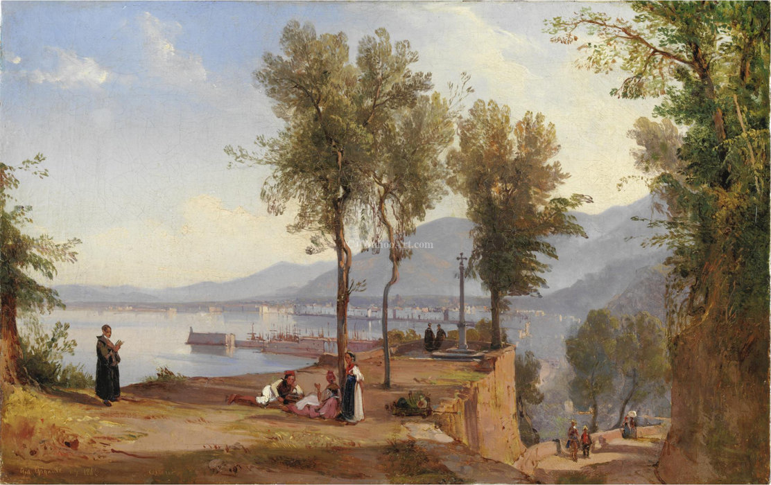 View of castellamare stabia by Giacinto Gigante (1806-1876, Italy) | Art Reproduction | WahooArt.com