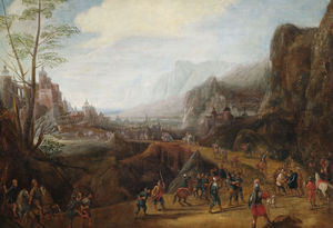 Gillis Van Coninxloo - Landscape with a scene of the Conversion of Saul