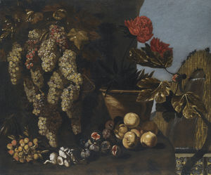 Giovanni Battista Ruoppolo - Still life with hanging grapes on the vine, figs and fungi in a garden setting