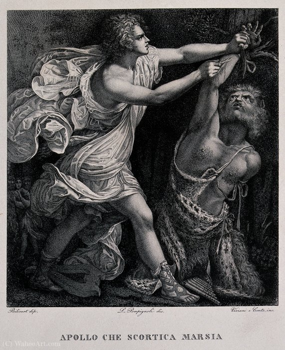 Apollo flaying Marsyas by Giovanni Bilivert (1585-1644, Italy)