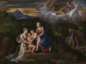 Girolamo Da Carpi - Virgin and Child in a Landscape with the Child Baptist and Saint Catherine of Alexandria