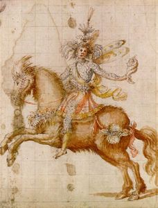 Giulio Parigi - A fantastic figure on horseback holding a conch design for a cavalcade