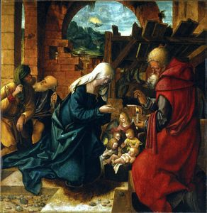The Adoration of the Shepherds by Hans Leonhard Schaufelein  (buy Fine Art Art reproduction Hans Leonhard Schaufelein)