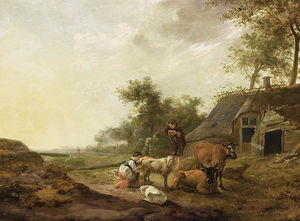 Hendrick Mommers - A landscape with a maid milking a sheep