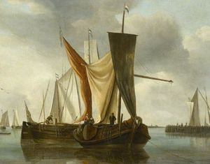 Hendrik Jakobsz Dubbels - Dutch Fishing Boats Becalmed near a Jetty