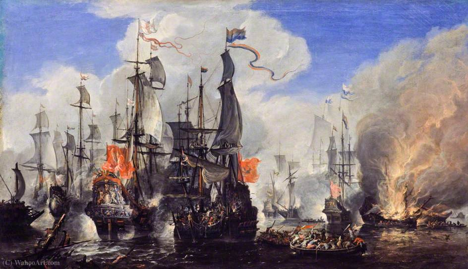An Engagement Between the English and the Dutch Fleets by Hendrik Van Minderhout (1632-1696, Netherlands)