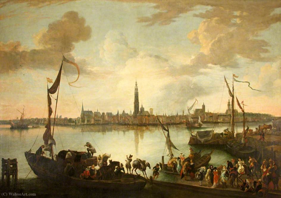 Antwerp from across the Scheldt by Hendrik Van Minderhout (1632-1696, Netherlands)