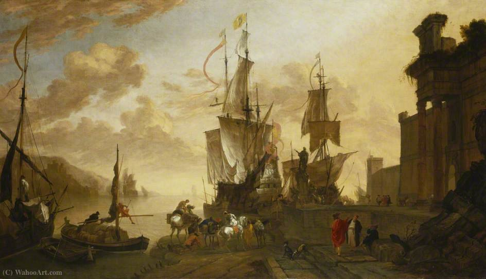 Italianate Harbour Scene with the Monument of Ferdinand I de' Medici at Leghorn by Hendrik Van Minderhout (1632-1696, Netherlands)