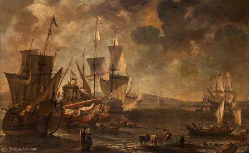 Shipping in a Haven by Hendrik Van Minderhout (1632-1696, Netherlands)