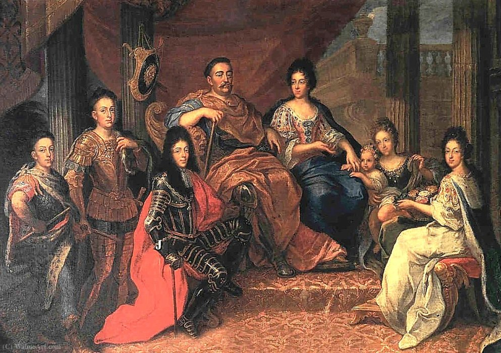 John III Sobieski with his family by Henri Gascard (1635-1701, France)