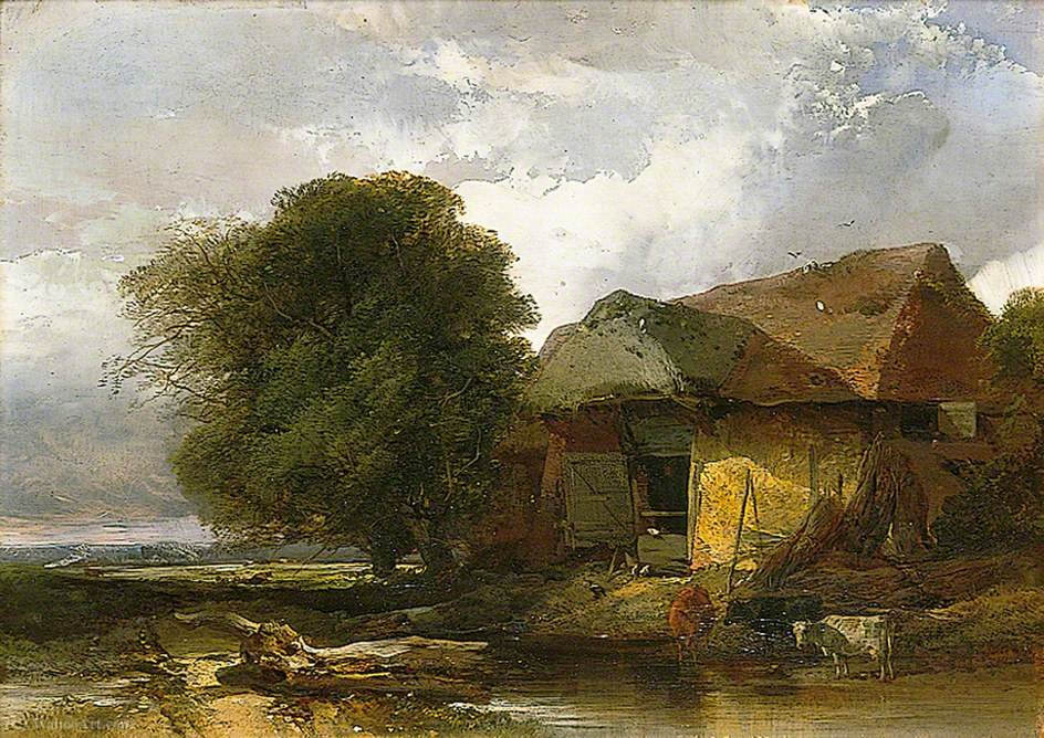 Old barn, suffolk by Henry Bright (1812-1873, United Kingdom) | Art Reproductions Henry Bright | WahooArt.com