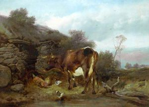 Henry Bright - Rural Scene with a Cow and Poultry