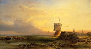 Henry Bright - Shore Scene near Leyden, Holland