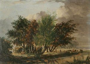 Henry Bright - Trees by a River with Cattle