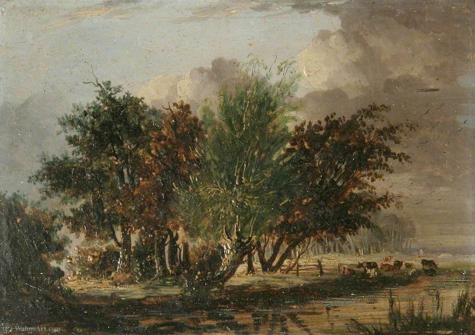 Trees by a River with Cattle by Henry Bright (1812-1873, United Kingdom) | Reproductions Henry Bright | WahooArt.com