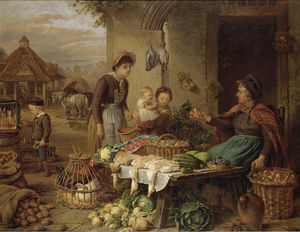 Henry Charles Bryant - A market stall