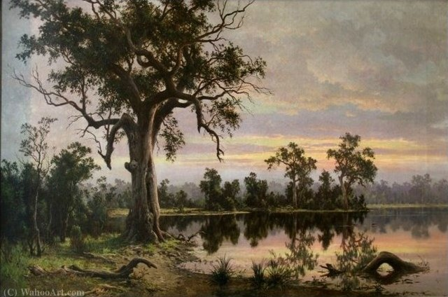 On the Murray Flats, South Australia , (1880) by Henry James Johnstone (1835-1907, United Kingdom) | Museum Art Reproductions Henry James Johnstone | WahooArt.com