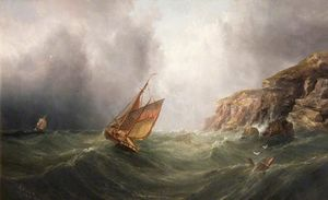 Henry Redmore - A Coastal Scene with a Cliff, a Fishing Boat and a Merchantman in a Storm