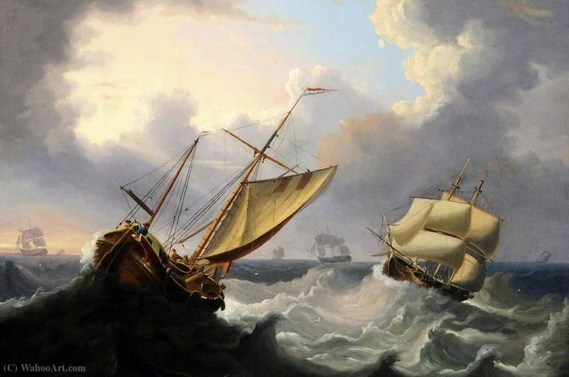 Bay of Biscay by Henry Redmore (1820-1887, United Kingdom) | Famous Paintings Reproductions | WahooArt.com