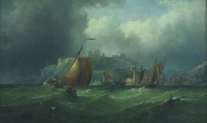 Henry Redmore - Boats off Whitby, North Yorkshire