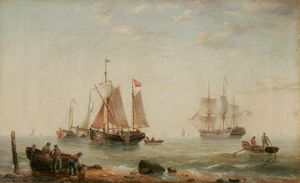 Henry Redmore - Great yarmouth shipping scene, norfolk