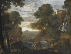 Herman Van Swanevelt - A southern landscape with fishermen unloading and packing their catch
