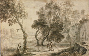 Herman Van Swanevelt - An italianate landscape, with figures walking in the foreground (morning)