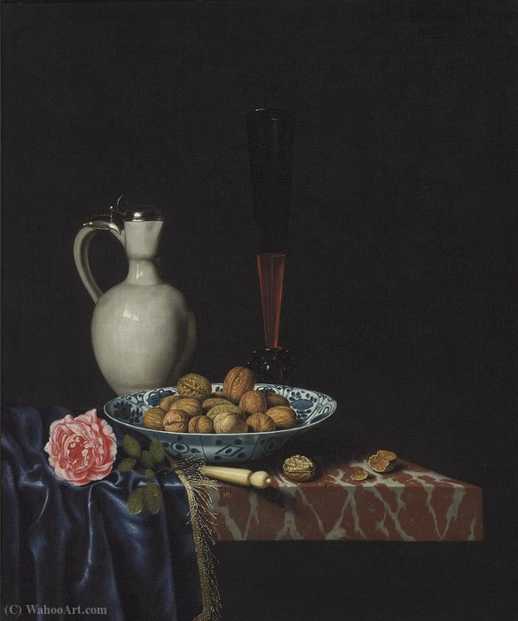 A wan-li bowl with walnuts, a façon de venise wine glass, an ivory-handled knife, a Delft stoneware jug and a rose on a partially draped marble ledge by Hubert Van Ravesteyn (1640-1687, Netherlands) | Art Reproductions Hubert Van Ravesteyn | WahooArt.com